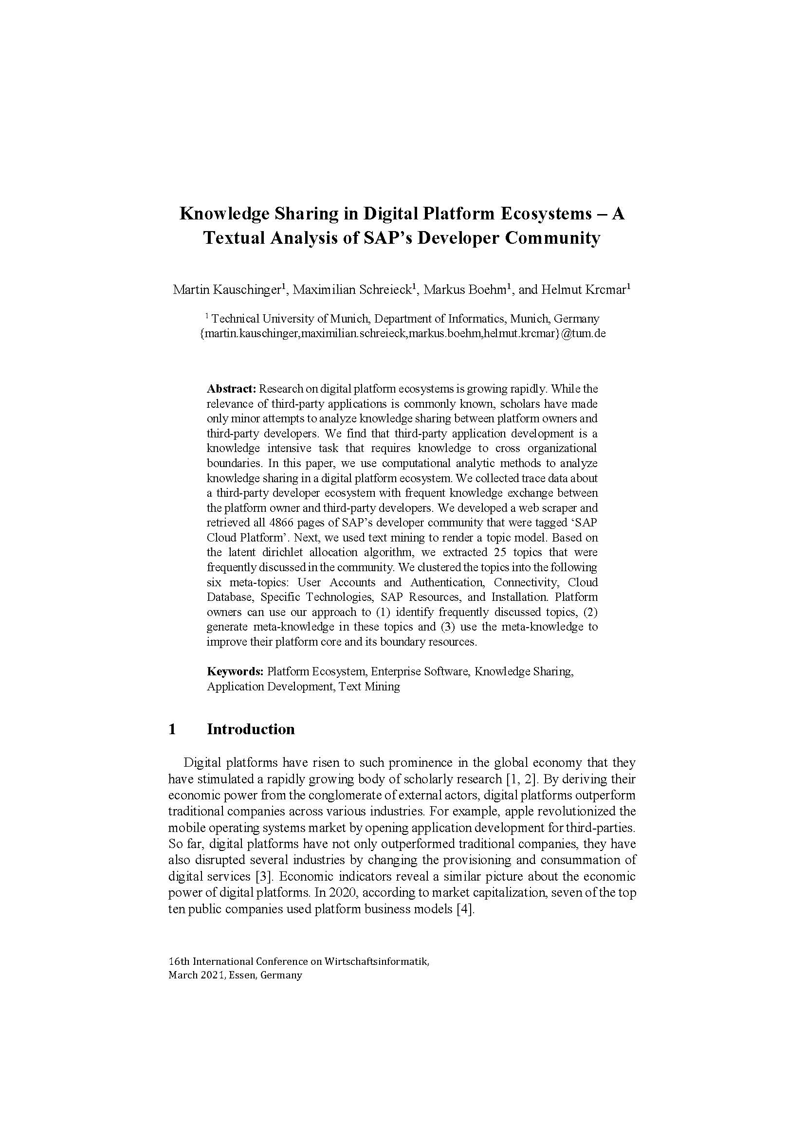 Knowledge Sharing in Digital Platform Ecosystems – A Textual Analysis of SAP's Developer Community