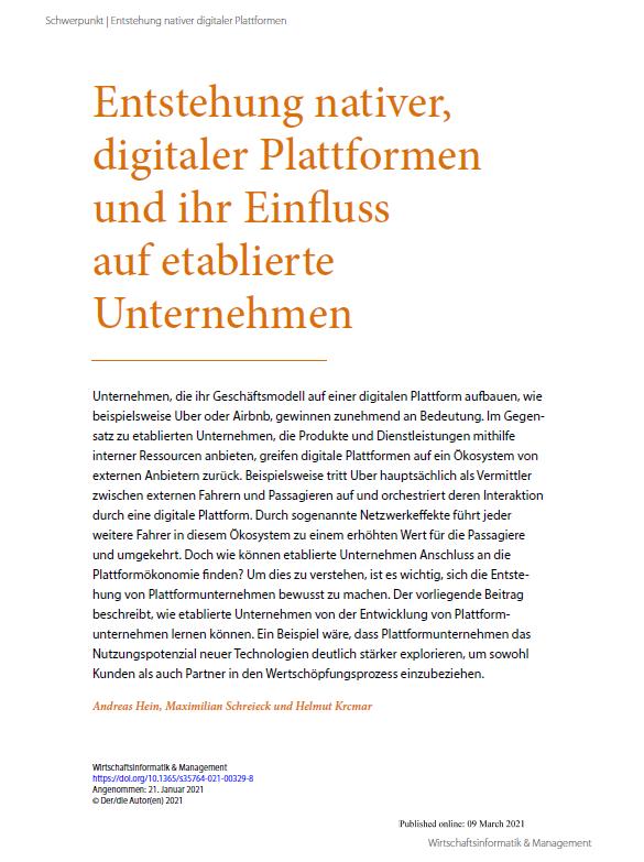 Entstehung nativer, digitaler Plattformen und ihr Einfluss auf etablierte Unternehmen
