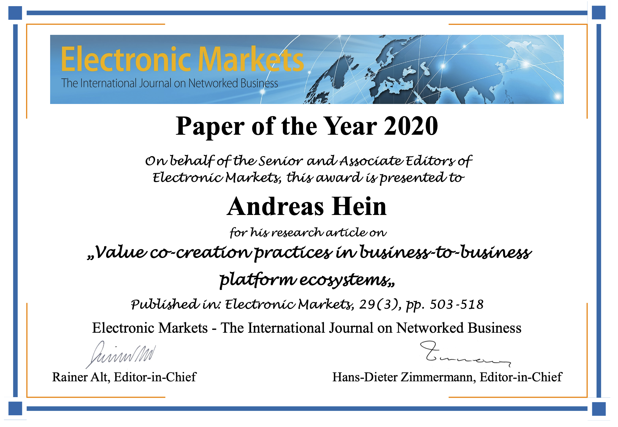 Electronic Markets – Paper of the Year 2020: Value Co-Creation Practices in Business-to-Business Platform Ecosystems